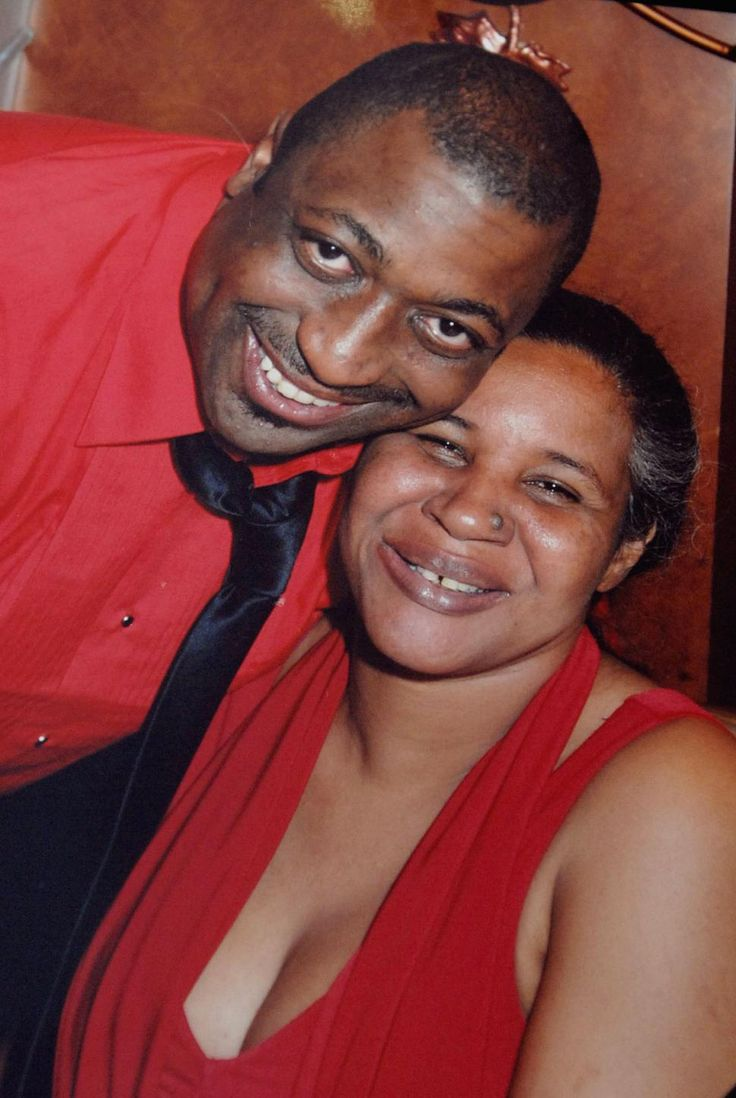 Eric Garner with his wife. Garner died while being held down in a choke hold by NY police.