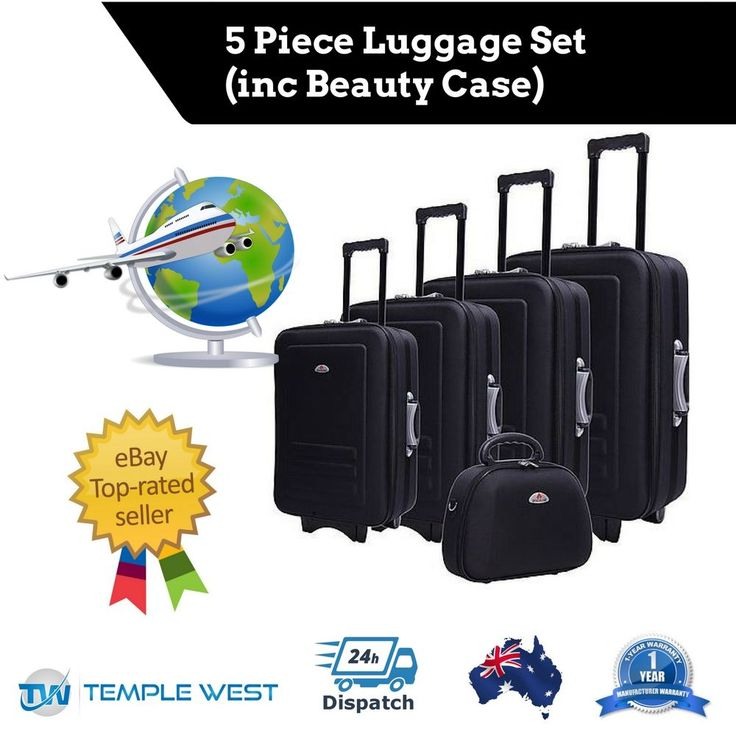 NEW 5pc Suitcase Trolley Set Travel Bag Case Lockable Wheel Luggage Black