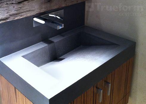 concrete sinks trueform concrete custom work - Concrete Bathroom Decoration