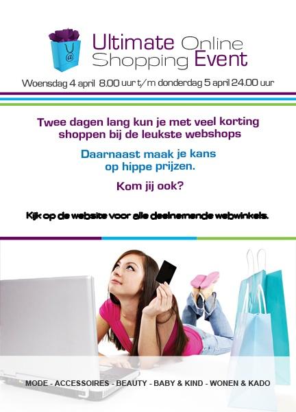 A5 Flyer voor Ultimate Webshops als aankondiging voor de Ultimate Online Shopping Event