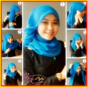 Tutorial Hijab Segi Empat Untuk ke Kantor Dengan Kerudung Paris - arenawanita.com