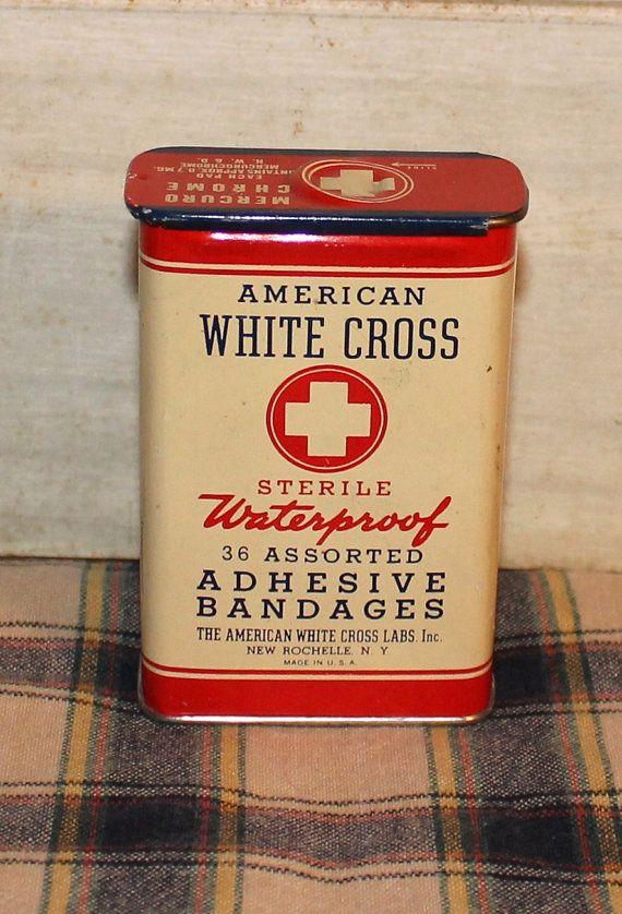 Vintage Collectible Tin  American White Cross by MuzettasWaltz, $15.00