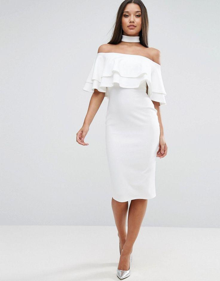 Club L Bardot Midi Dress with Double Frill
