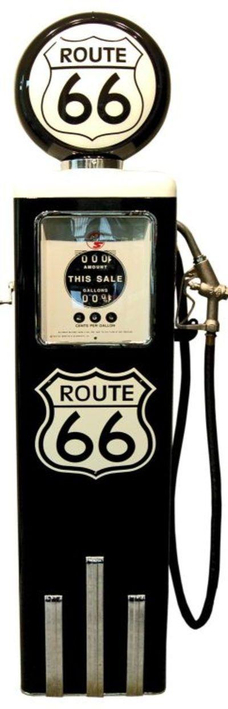 Pompe à essence 8 ball aux couleurs ROUTE 66 finition noire. Superbe qualité, importé des USA, disponible sur
