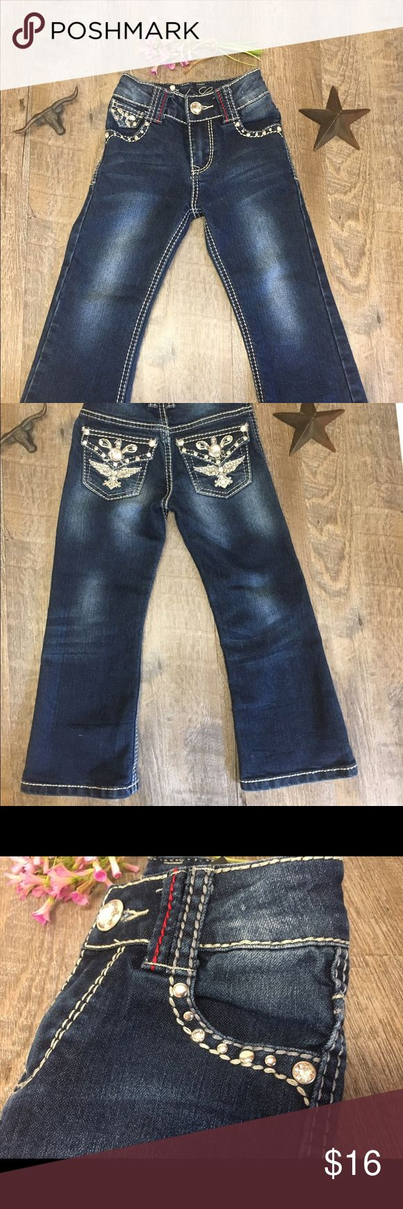 Girls western wear Rodeo girl blingy jeans Flawless condition size 4 adjustable waist all rhinestones in place. White stitching large stone bottom #823 rodeo girl Bottoms Jeans
