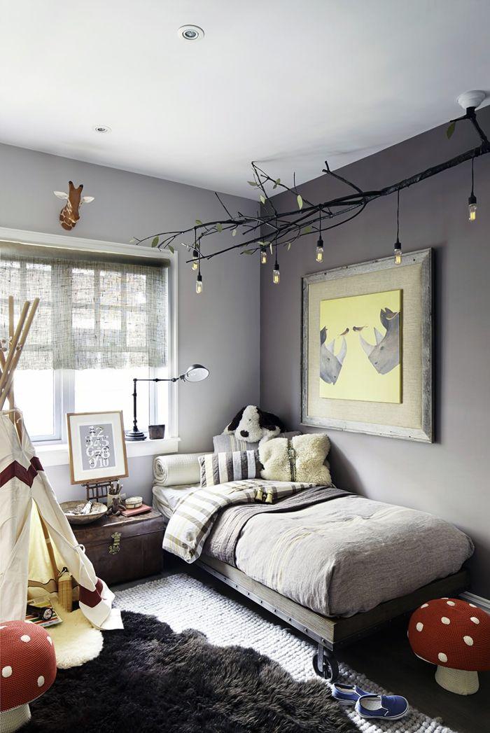 habitación niño decore con tonos de gris, amarillo y rojo