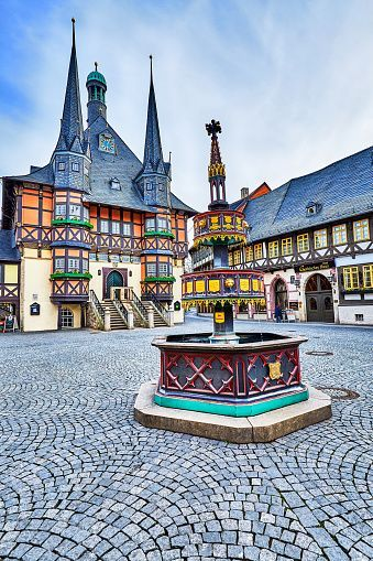 The town of Wernigerode, located on the German Timber-Frame Road, on the north slopes of the Harz Mountains.