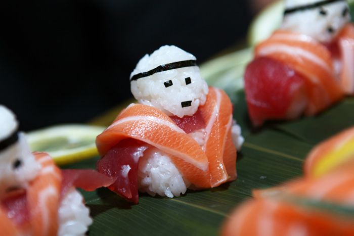 "Sushi rice ""soldiers"" made with fresh salmon and tuna sashimi and garnished with edamame, by DNA Events Inc. in Los Angeles Photo: Courtesy of DNA Events"