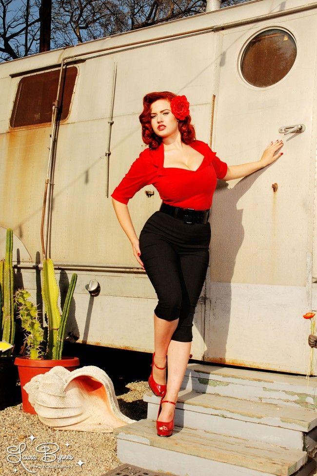 Figure Shaping Retro Half Sleeve Top with Wide Collar in Red   Pinup Girl Clothing