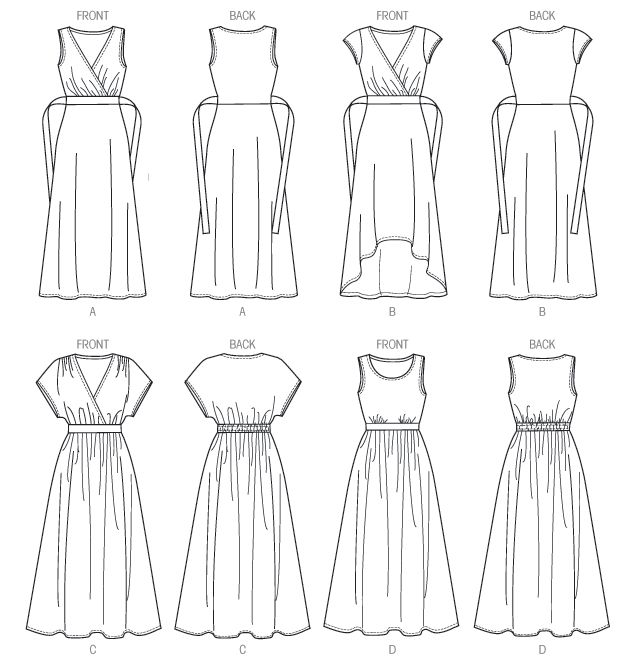 Butterick B6051 Sewing Pattern   Line Art [stretch fabric, views A and B have no gathers in waist]   Size 8-16