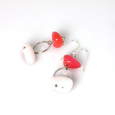 Fuschia and icecream pink Earrings - blossomhandmade.co.za