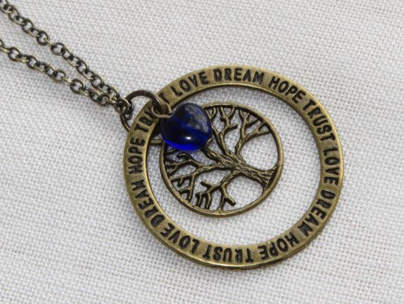 Tree of Life Charm Necklace  Affirmation Ring  Cobalt by Thielen, $15.95