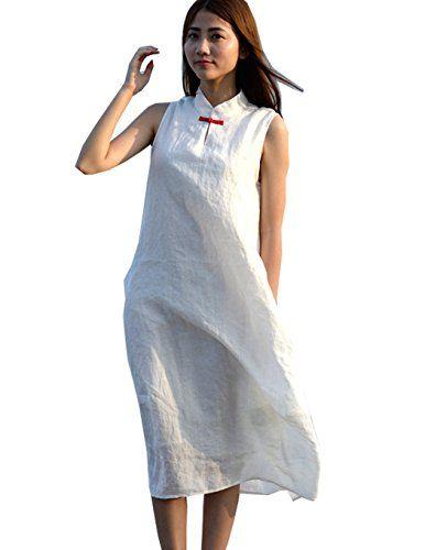 346401f14ca SUFEI Women Ramie Cotton Casual Loose Fit Plus Size Dress White      AMAZON  BEST BUY     LinenDresses
