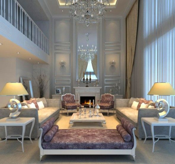 Luxurious Living Room Interior Design With Gleaming Lighting And Silver  Leaf Trim Work.