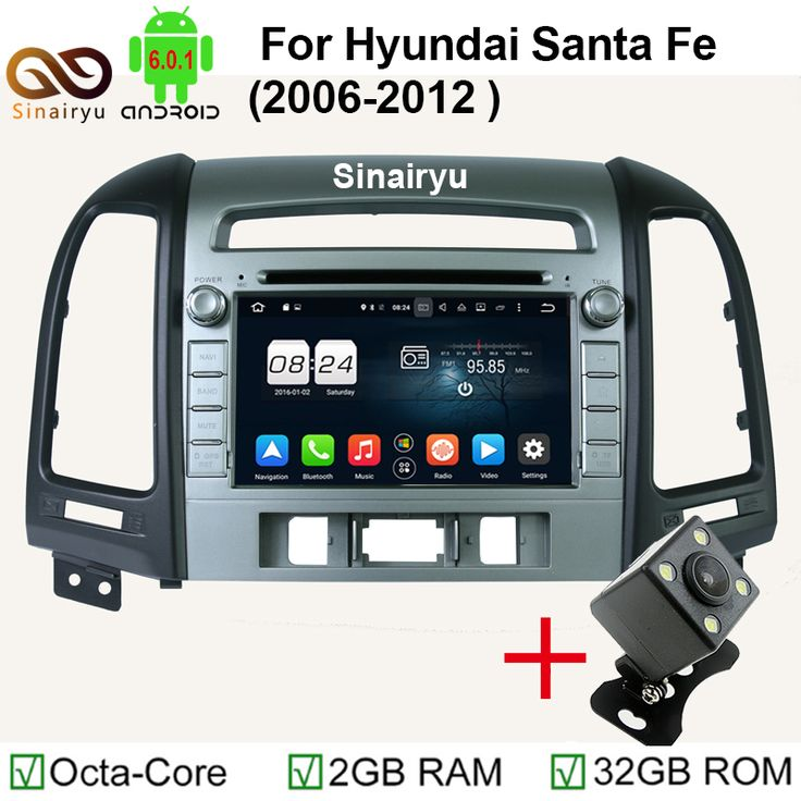 "2GB RAM HD 7"" 1024x600 Octa Core Android 6.0.1 Car DVD GPS Fit For Hyundai Santa Fe 2006-2012 Stereo Radio GPS Map"