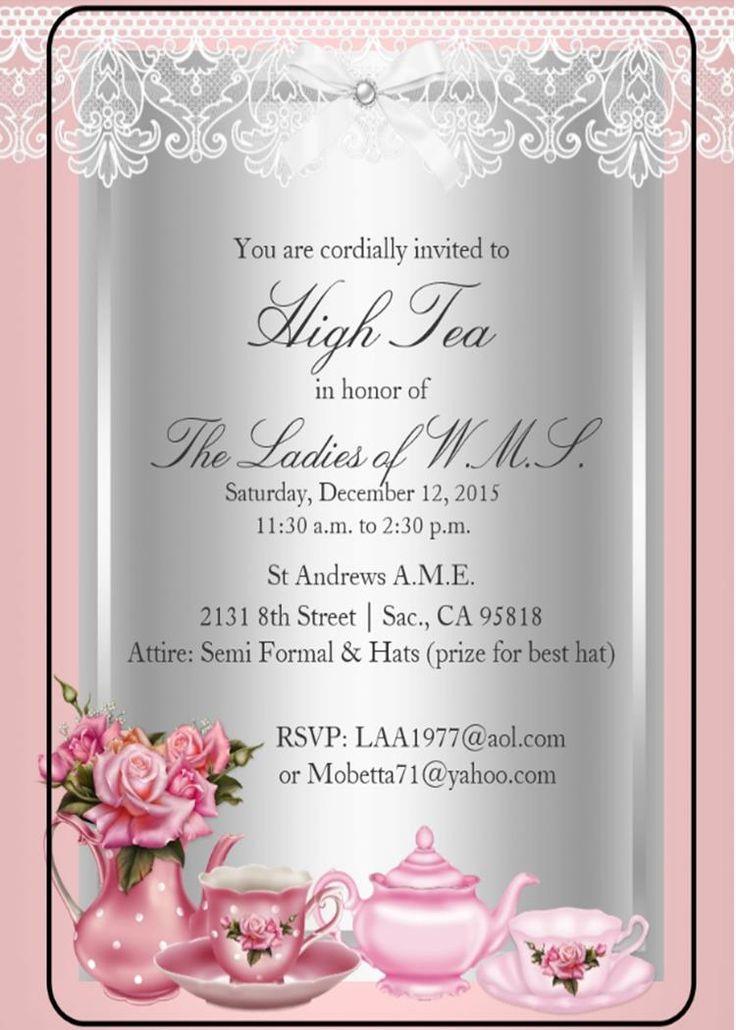 High tea invitation wording