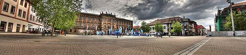Panorama of the Schlossplatz during Smurfday, Erlangen, Franconia, Germany