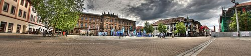 Panorama of the Schlossplatz during Smurfday, Erlangen, Franconia, Germany