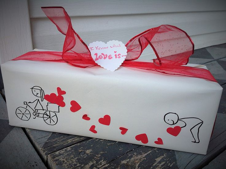 Valentine Gift Wrap - Simple stick drawings with hearts. Got my idea from these pillow cases http://divacratus2.hubpages.com/hub/romantic-pillow-cases-2#slide9505021 http://www.pinterest.com/bethob/wrap-it-up-with-a-little-whimsy/