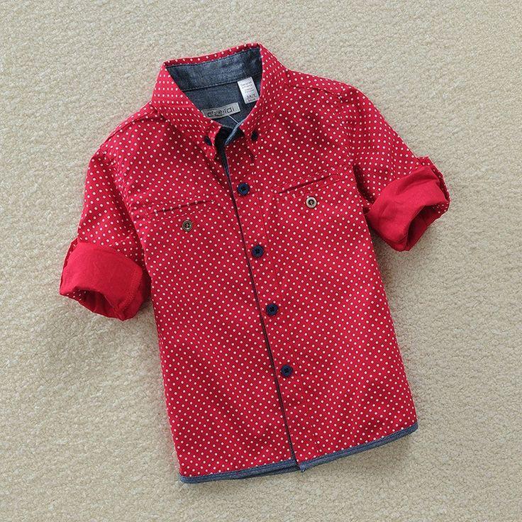 Высокое качество, Новый 2015 весна / осень марка мода дети хлопковые рубашки мальчики горошек с длинными рукавами мальчиков вершины рубашки купить на AliExpress