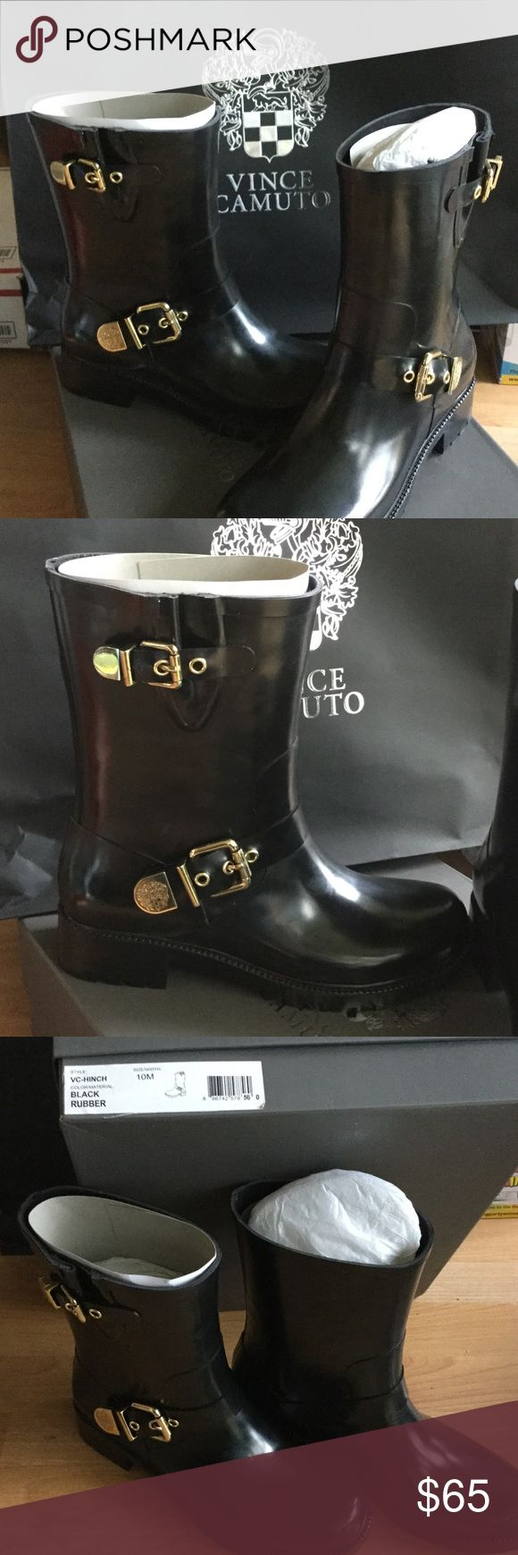 Vince Camuto Black Hinch Rubber Rain Boot NIB Beautiful brand-new size 10 Vince Camuto black rubber rain boots . very stylish Vince Camuto Shoes Winter & Rain Boots