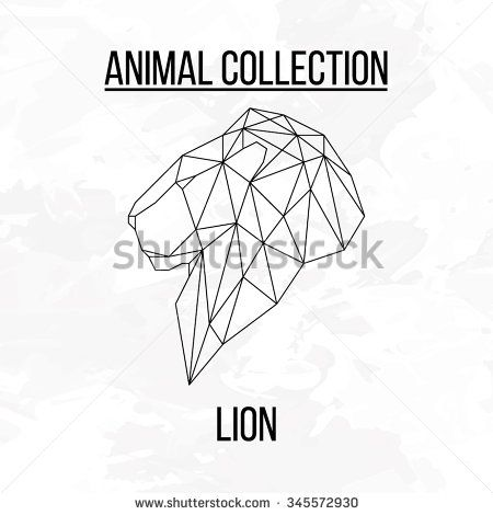 Lion head geometric lines side view silhouette isolated on white background vintage vector design element illustration