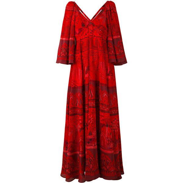 Valentino Landscape Border dress ($2,900) ❤ liked on Polyvore featuring dresses, red, v-neck dresses, red v neck dress, pleated dresses, red dress and valentino dress
