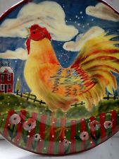 """Susan Winget's Colorful Rooster Plate Certified International Country Fence 8.5"""""""