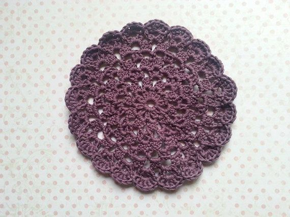 Hand crocheted cotton doily in vintage plum by maxollieandme