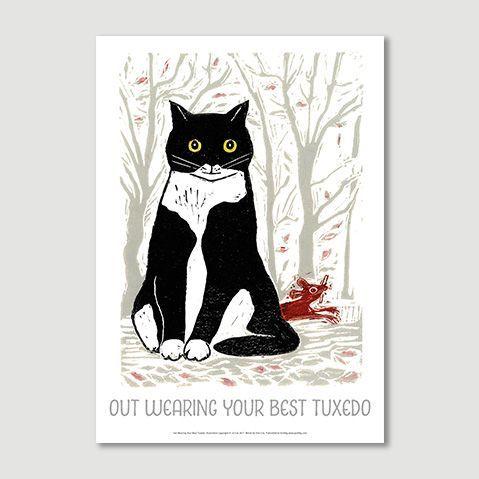 Out wearing your best tuxedo, Jo Cox, Tom Cox, My Sad Cat, Graffeg, Poster