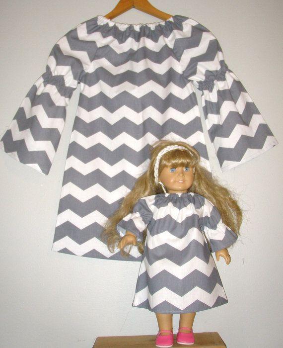 America Girl doll dress Chevron Gray white by ladyoutofcarolina