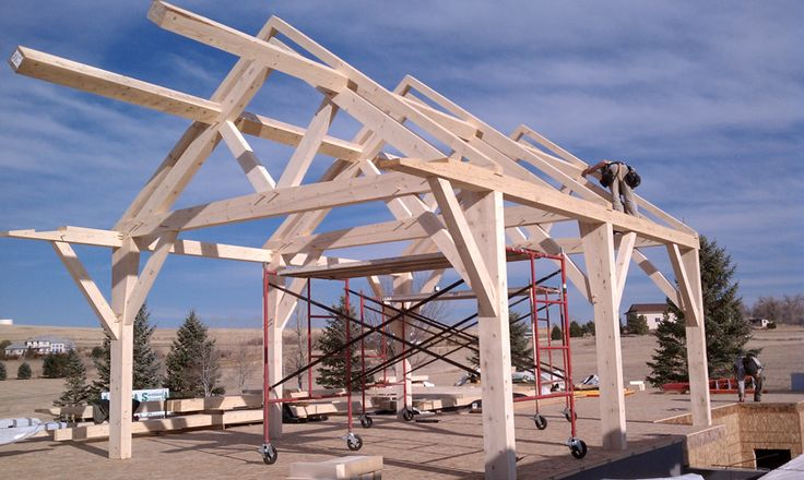 Timber Frame Homes Northern Colorado - Cobb Lake Residence Constructing the Roof