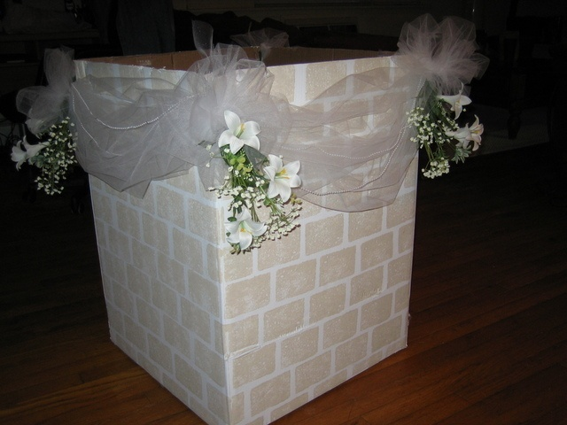 Wishing Well for Bridal Shower (pics) - box painted white, bricks sponge painted on