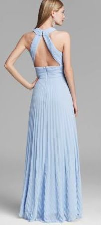 AQUA Gown - Pleated Halter Chiffon Keyhole, this is so pretty.  If only I was young and shapely again.