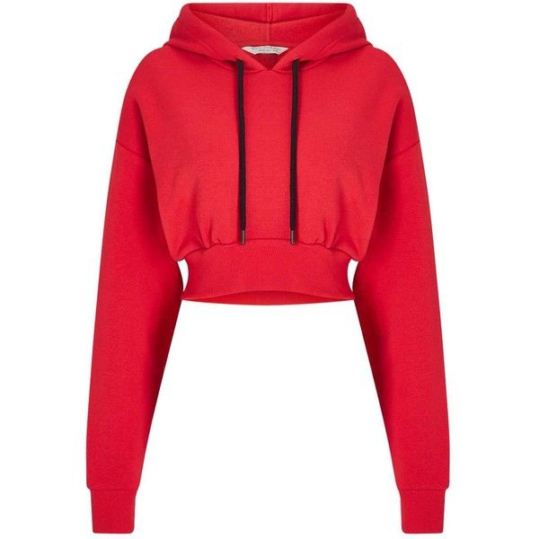 6c8c1d7c08ad23 Miss Selfridge Red Cropped Hoodie ( 42) ❤ liked on Polyvore featuring tops