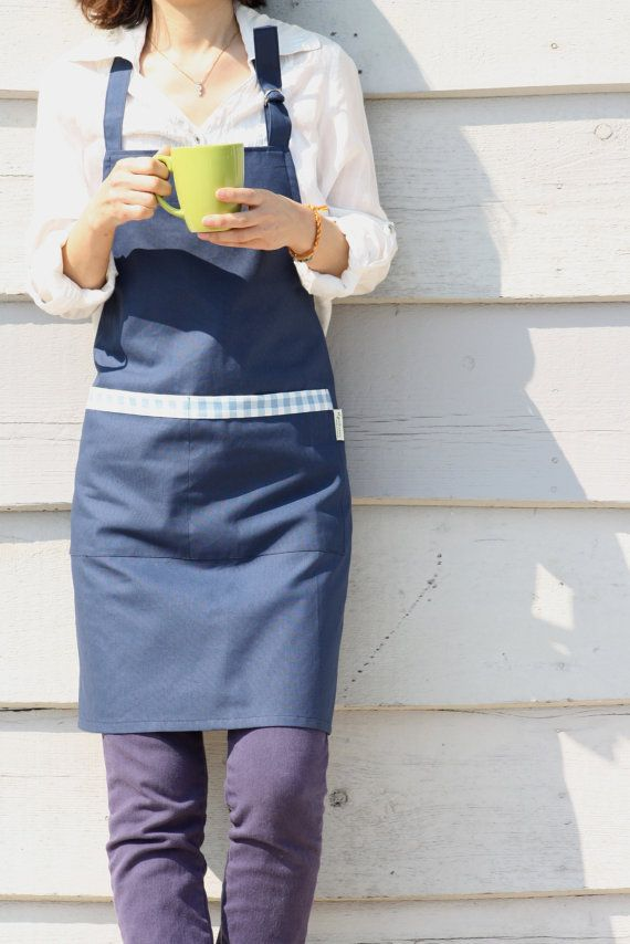 Navy Color  Cotton Bib Apron with Pockets Pinafore by MysGreenCom