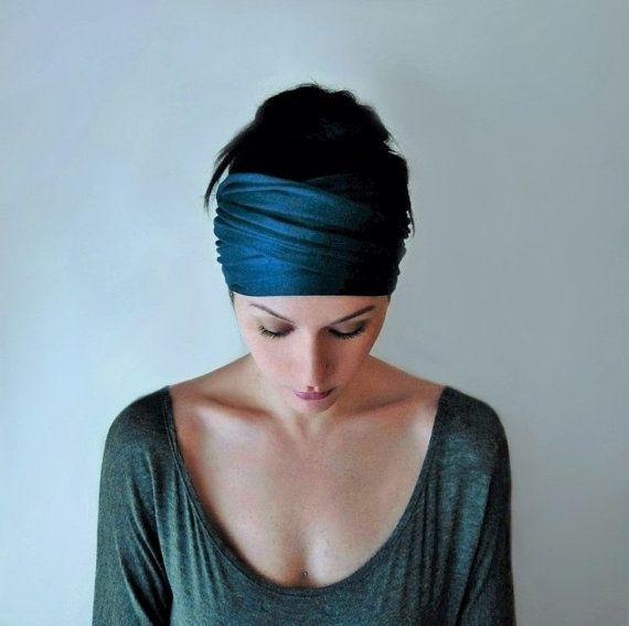 PEACOCK BLUE Head Scarf, EcoShag Head Wraps for Women, Extra Wide Head Wrap, Teal Fashion Turban, Boho Head Wrap, Adjustable Turban Headband