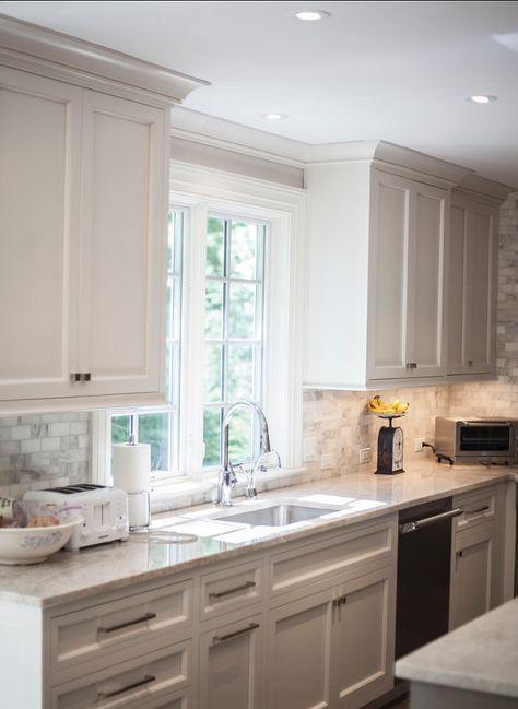 Love The Backsplash And Countertop Kitchen Kitchen With Pale Gray Cabinets Designed By John Johnstone Kitchen Bath Designers