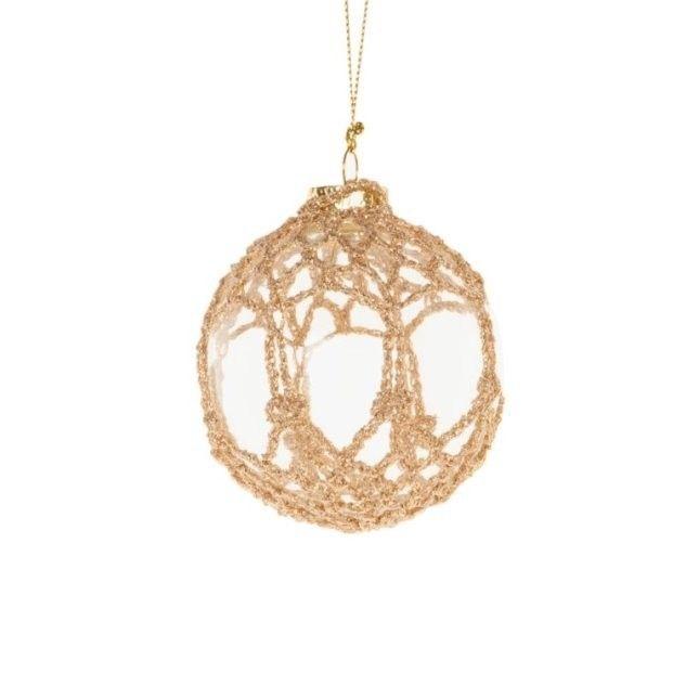 Pallina crochet oro Zara Home - Pallina di vestro con rivestimento di crochet oro del catalogo Zara Home Natale 2014