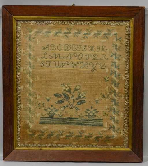 Lot: 1829 American Sampler, Anna G Johnson, aged 10 years, Lot Number: 12879, Starting Bid: $100, Auctioneer: William Bunch Auctions & Appraisals, Auction: Decorative and Fine Arts Estate Auction, Date: December 19th, 2017 EST