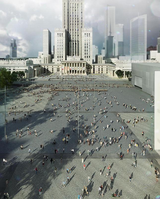 Wizualizacja projektów budynków MSN i TR Warszawa na Placu Defilad