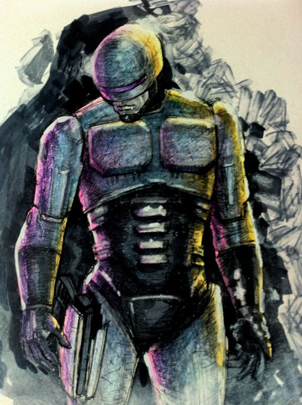 Sketch Book June/July 2012 by Kyle Sams.  I came across this artist recently in Edmonton and rather liked this Robocop sketch.  Just thought I'd share.  :)
