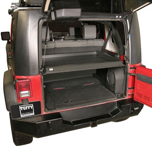 Tuffy Security Products Security Deck Enclosure for 07-10 Jeep® Wrangler & Wrangler Unlimited JK -- After searching, this seems to be the best secure trunk for a 4-door JK. I liked the bestop flex a trunk. But the reviews for it are terrible. This one doesn't look like it but its still easy to remove for large items. And secure otherwise. Also, it can hold 200lbs on top of it so no need for an extra carrier on top.