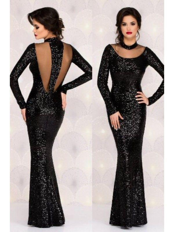 Rochie lunga din paiete negre Gorgeous