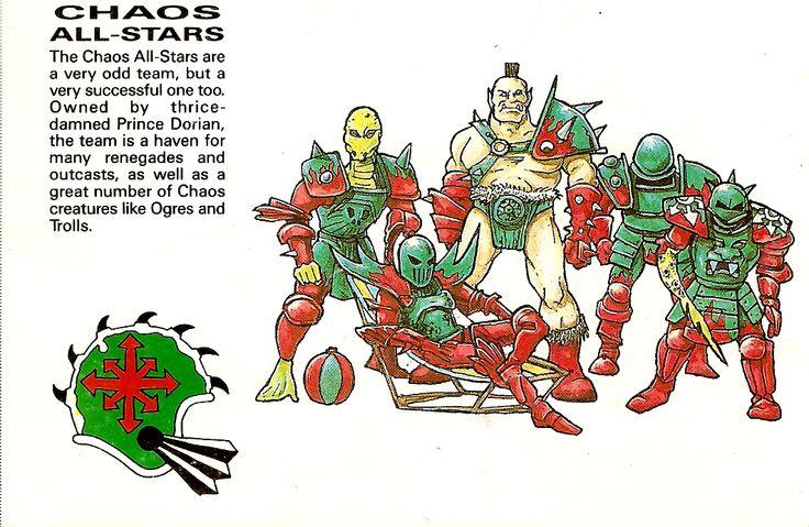 Imagen proveniente del reglamento de Segunda edición, que representa parte del equipo de los Chaos All Stars y pone algo de su lore. Obtenida de Pintinterest.