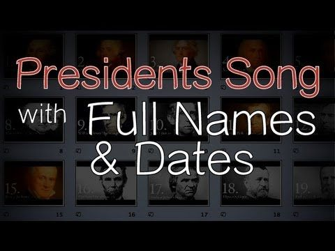 Presidents Song (with Full Names & Dates). Free Flash Card videos via DomanMom.com