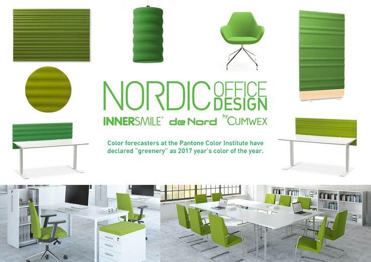 Nordic Office Design kan matcha årets Pantone färg. Ge oss Pantone kulören, så överför vi den till våra ljudabsorbenter och anslagstavlor. Du får en unik miljö.