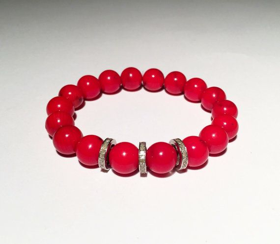 Red CORAL and DIAMOND bracelet, Red bracelet with diamond, Diamond with red bracelet, FREE shipping