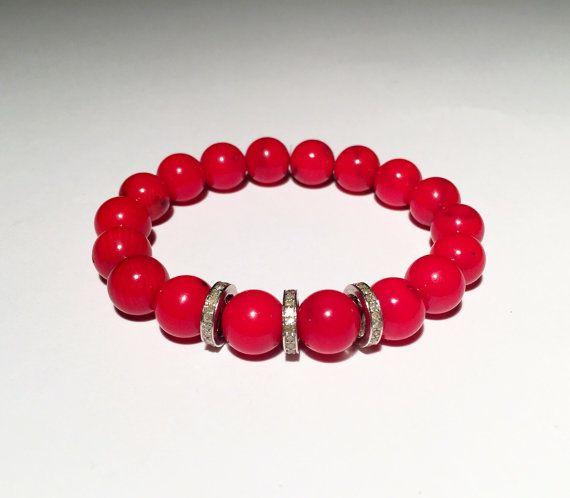 Red CORAL and DIAMOND bracelet, Red bracelet with diamond, Diamond with red bracelet, FREE shipping
