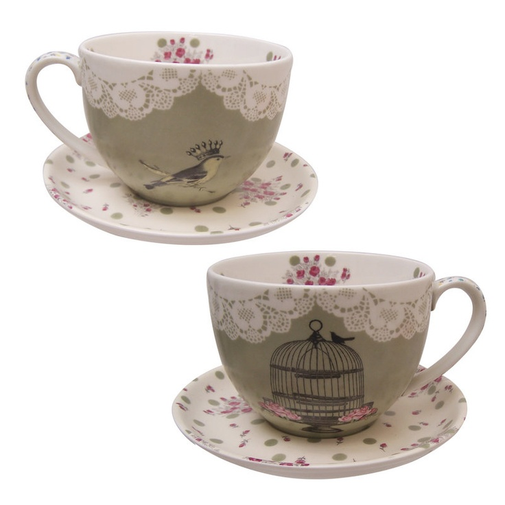 Vintage Inspired Tea Cup And Saucer
